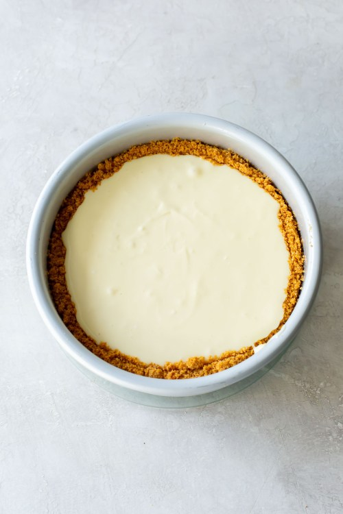 instant pot cheesecake in pan before cooking