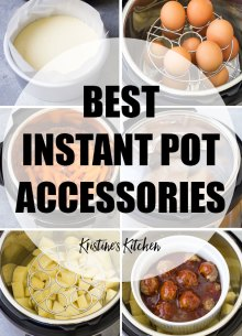 Collage of Instant Pot accessories photos.