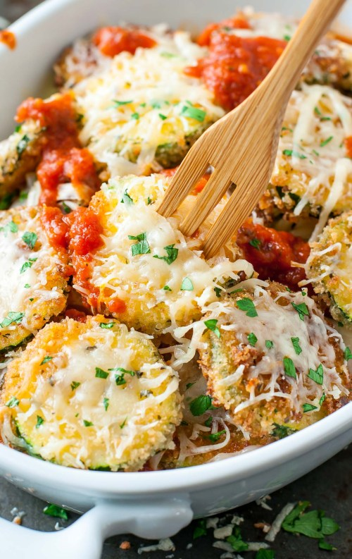 Zucchini Parmesan in a casserole dish.