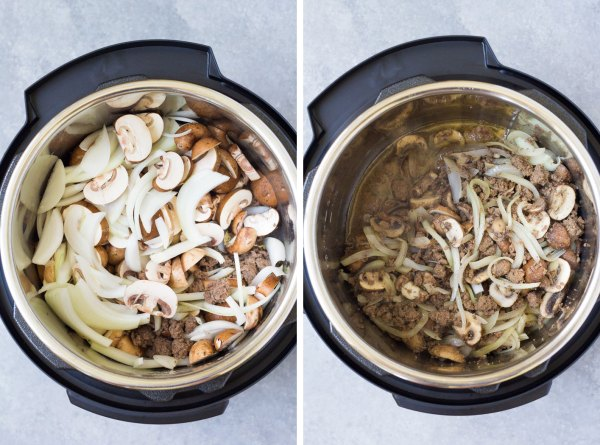 Two step by step photos to make stroganoff. Browned ground beef and then sauteed onions and mushrooms in an instant pot.