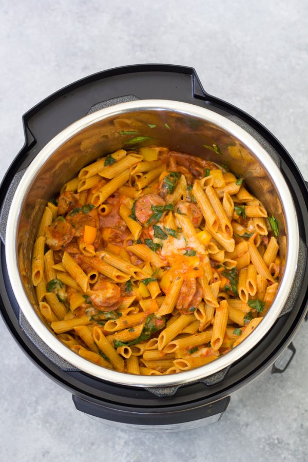 Penne pasta with marinara sauce and Italian sausage in an Instant Pot.