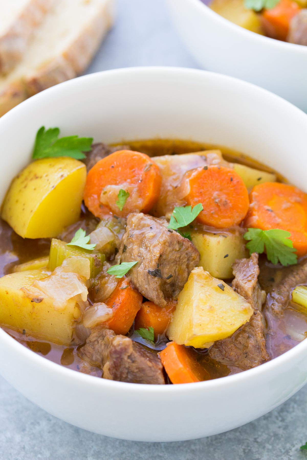 close up of beef stew in a white bowl