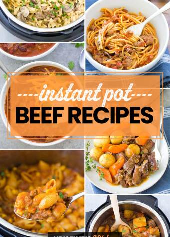 Collage of photos of Instant Pot beef recipes.