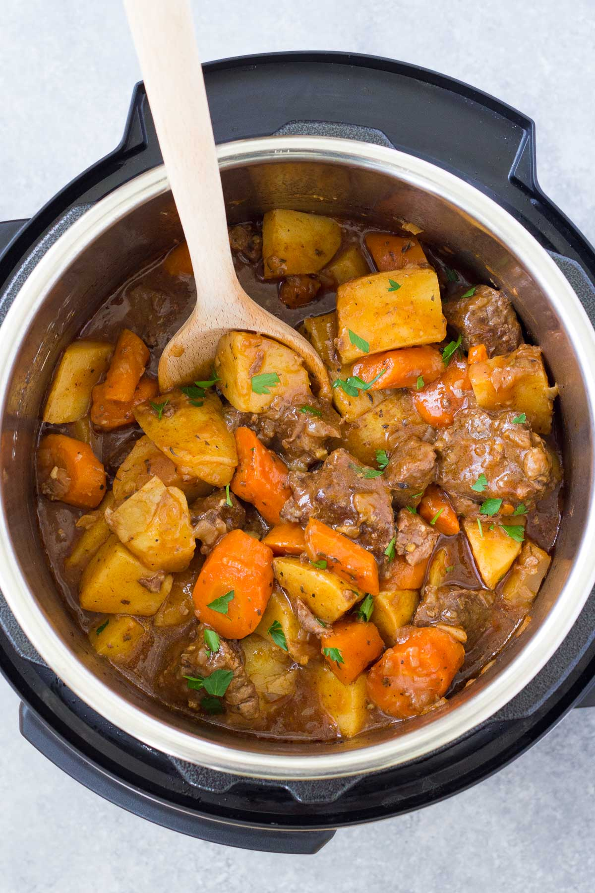 Beef stew after thickening in an Instant Pot.