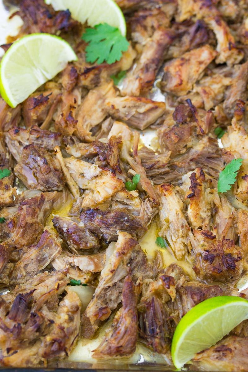 Crispy carnitas on a baking sheet.