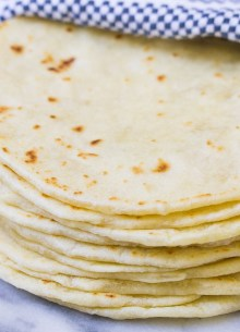 Stack of flour tortillas.