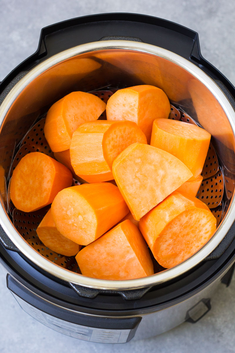 Sweet potato pieces in an Instant Pot.