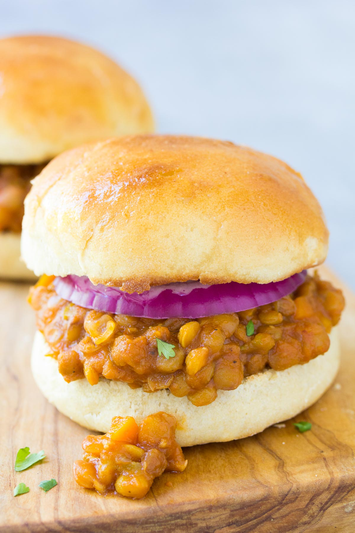 lentil sloppy joe sandwich with onion made in the instant pot