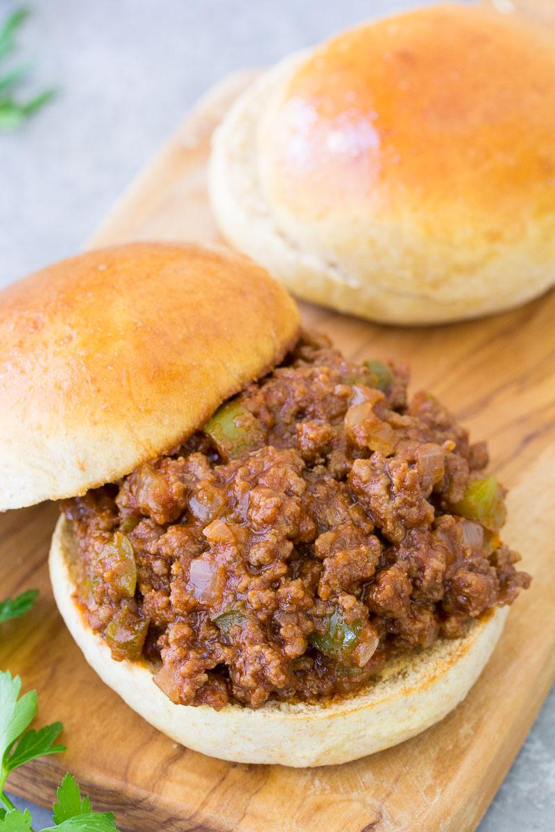 sloppy joe meat on toasted bun