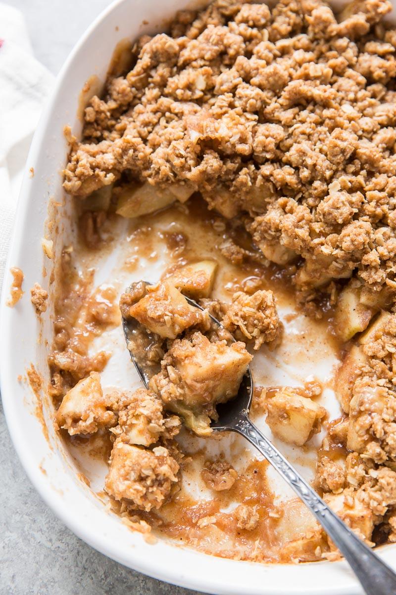 juicy apple crisp in baking dish