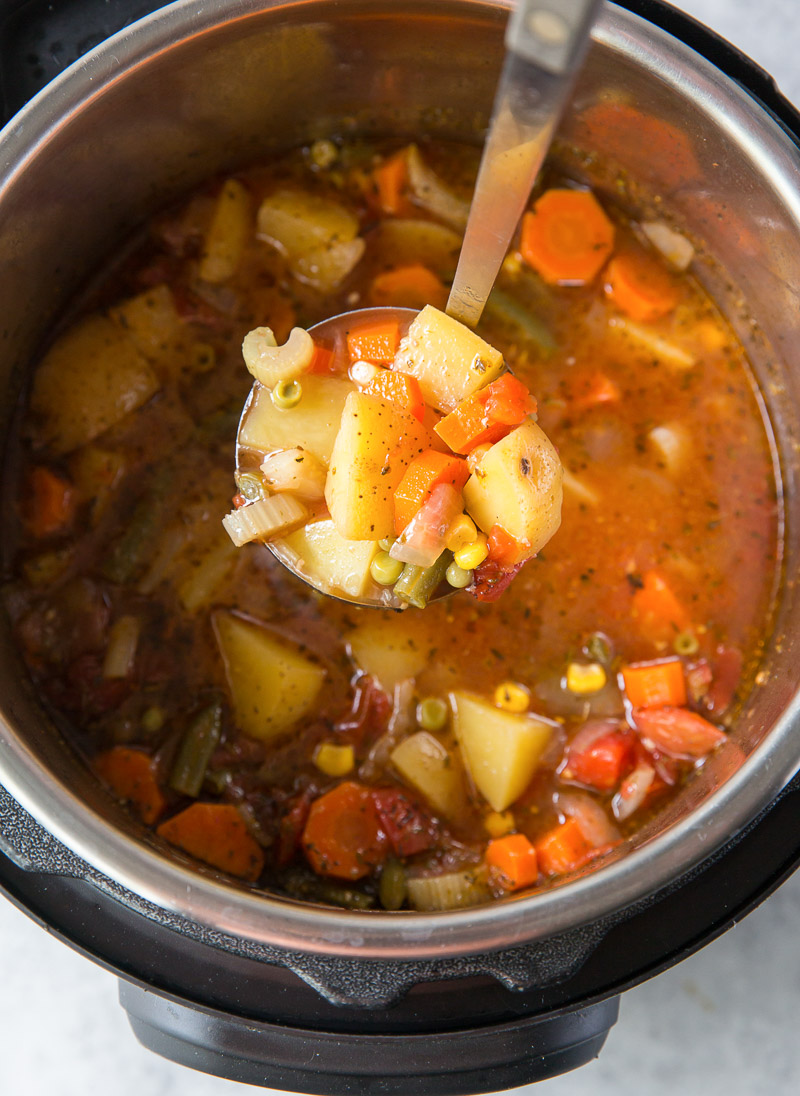 ladle of soup over instant pot