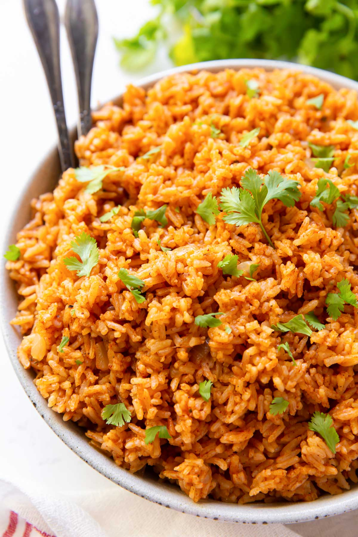 close up of mexican rice in serving bowl garnished with cilantro