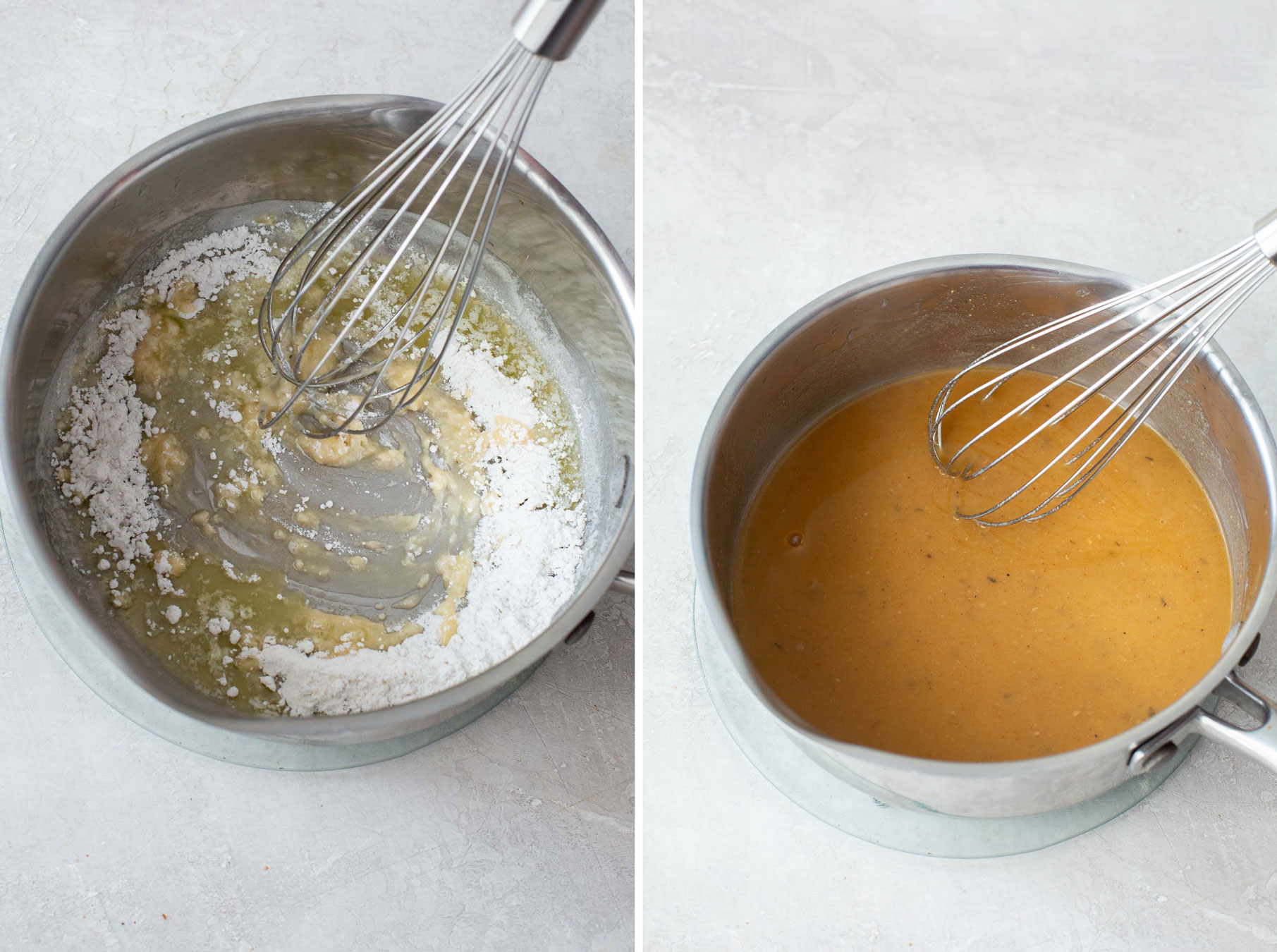 whisking butter and flour in pot and then second photo of whisking gravy
