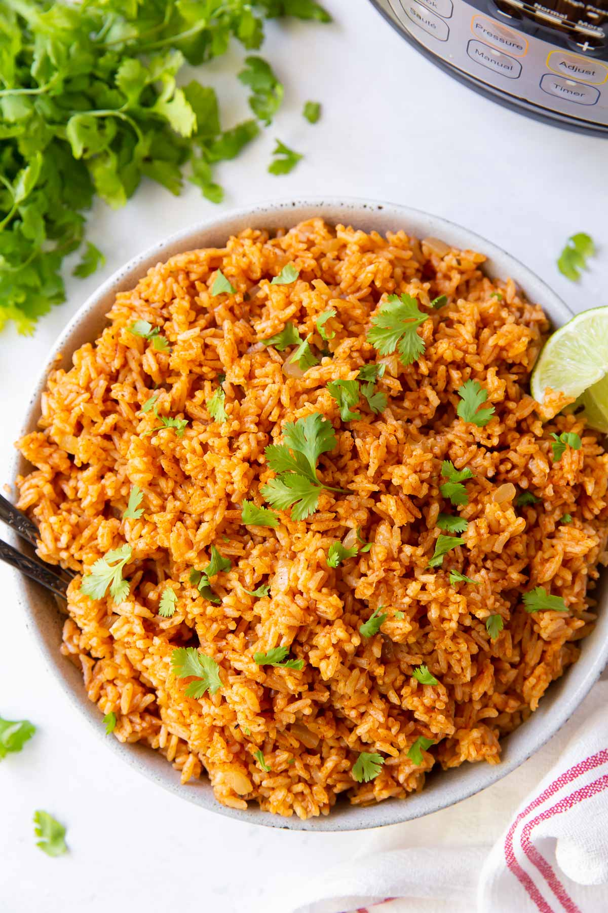 mexican rice in serving bowl with instant pot in background