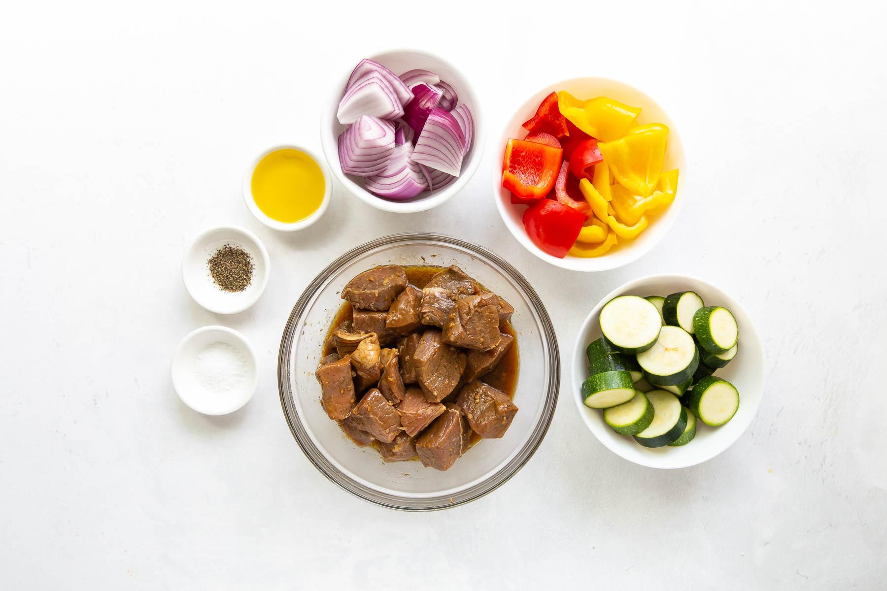 ingredients for steak kabob recipe