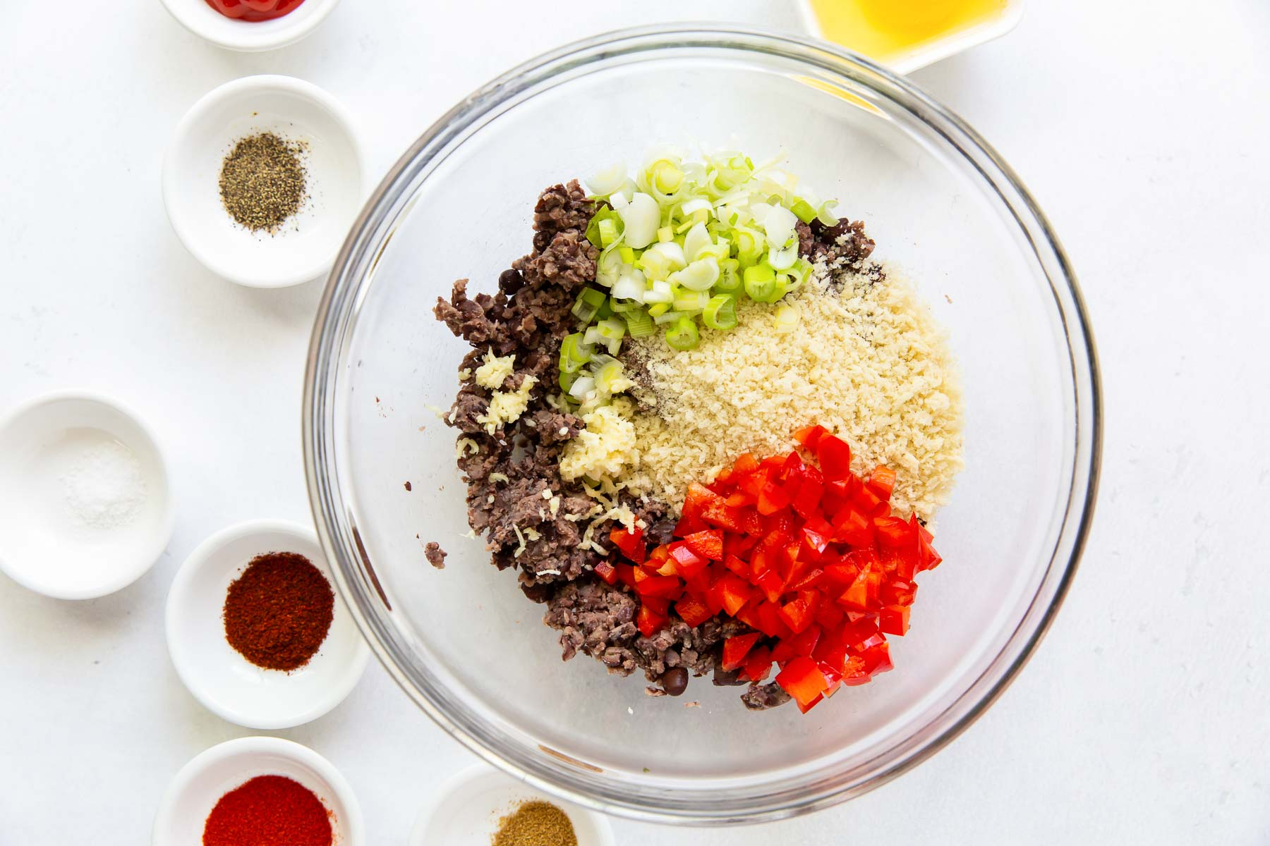 mashed black beans, panko, bell pepper and green onion in bowl