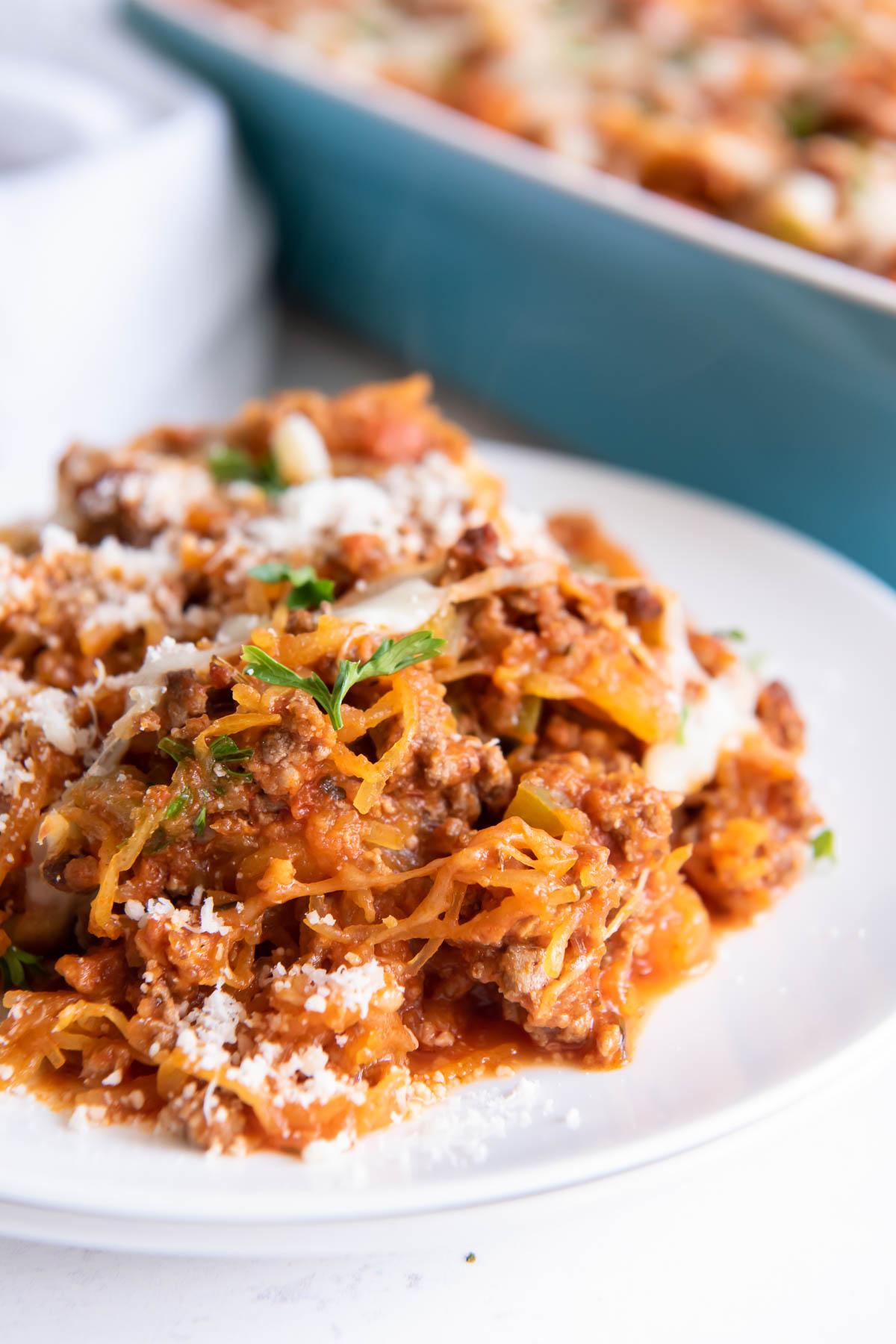 serving of spaghetti squash casserole on white plate