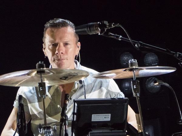 Focused Larry Mullen at U2 show in Dublin 23 Nov 2015