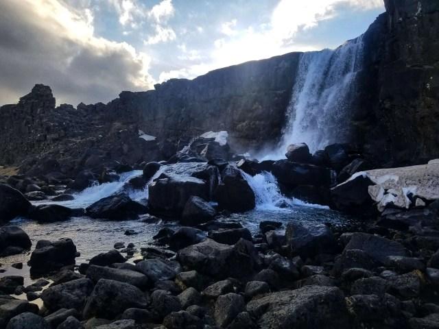 Öxarárfoss Waterfall in Þingvellir National Park