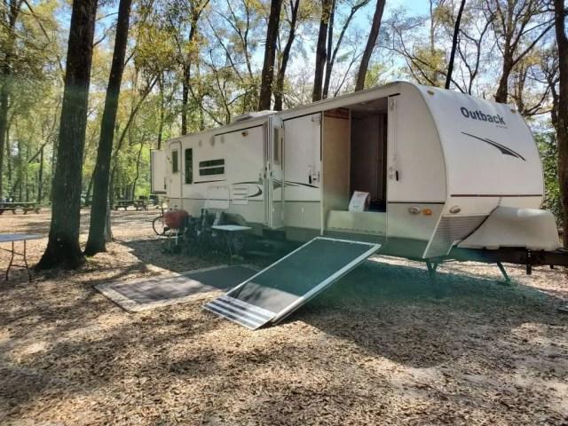 Campsite, ginnie springs, road trip