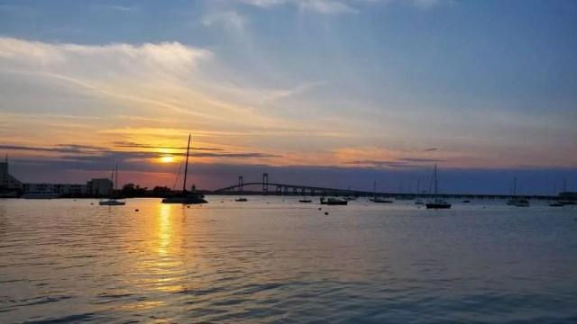 Sunset at Goat Island, Newport