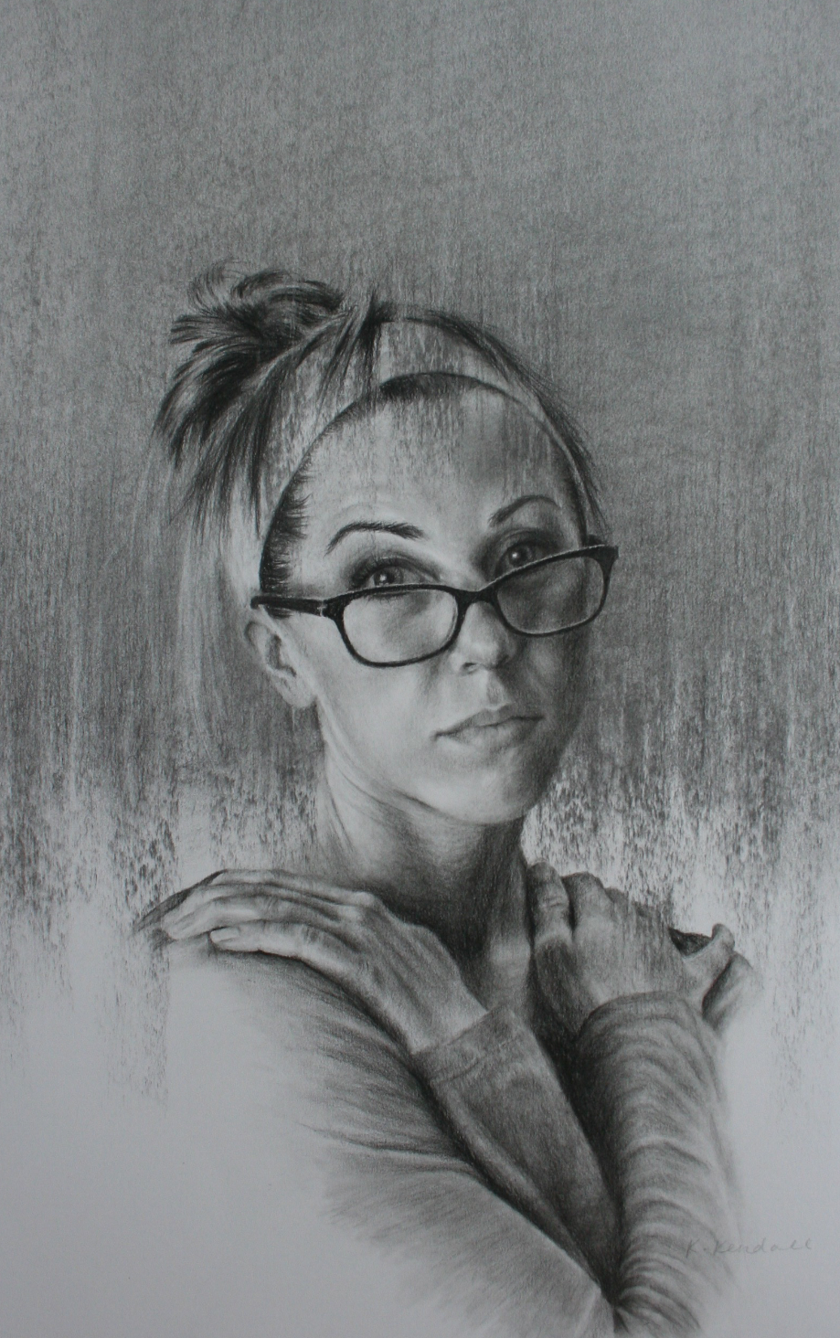 Charcoal Drawing, Charcoal Portrait, Self Portrait, Kristin Kendall Fine Art