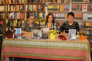 Kathleen Tresemer, Mary Lamphere, and Kristin at Mystery to Me Bookstore