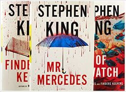 Covers of Stephen King's Mr. Mercedes, Finders Keepers, and End of Watch