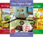 Covers of three of the Fudge Shop Mystery books