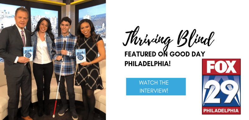 tin and Mitchell on set of Fox Philly with show hosts Mike and SHelly.  Hosts are each holding a copy of the book.  CLick to see fulll interview