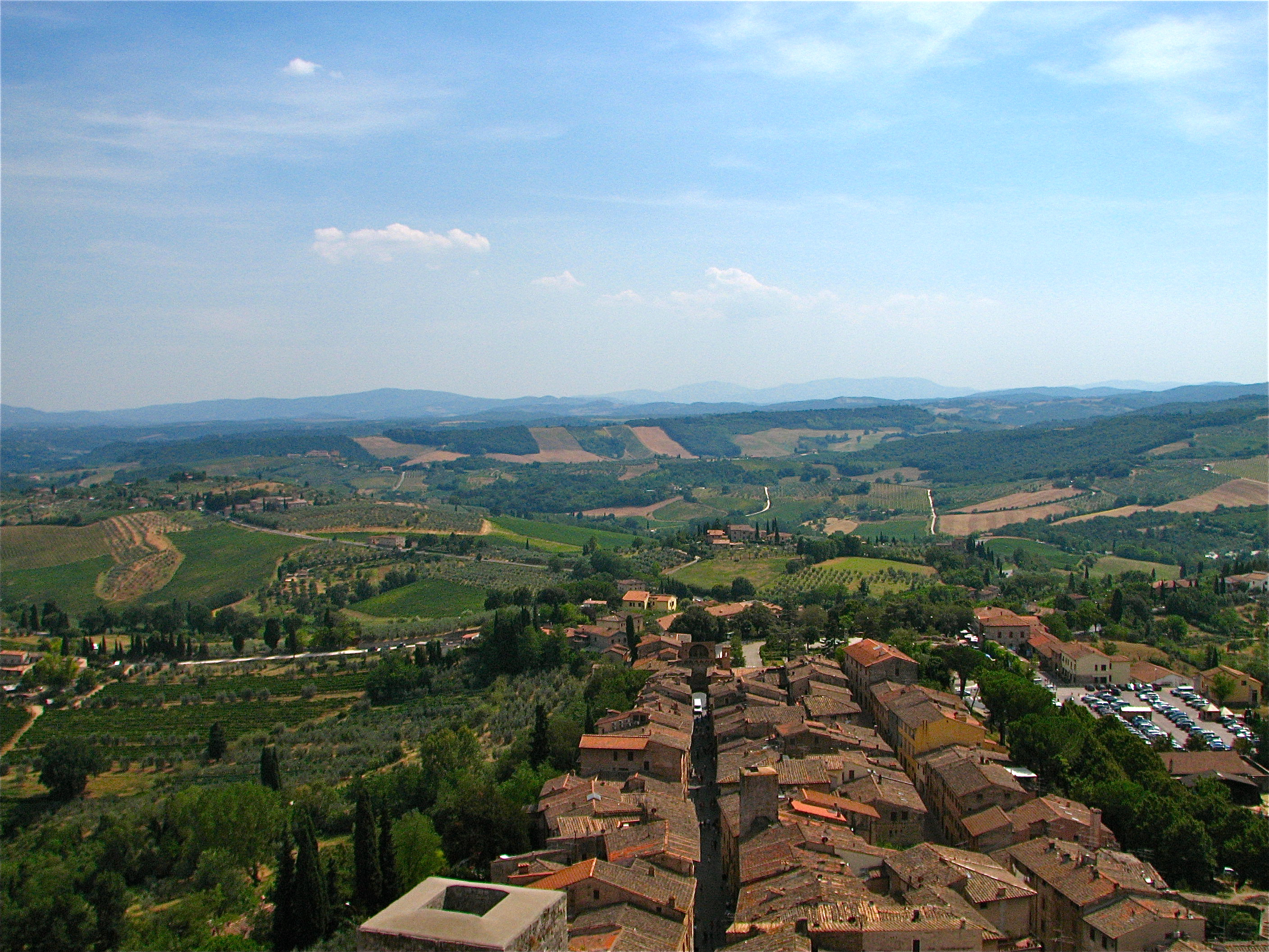 Tuscany seen from the tower of San Gimignano