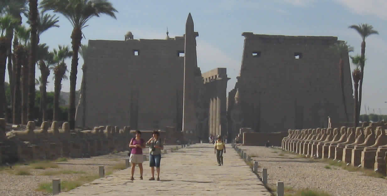 Luxor Temple as seen from the avenue of sphinxes.