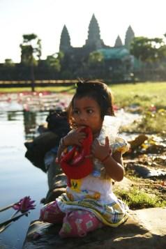 Between the Tourists. Angkor Wat.