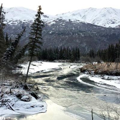 Alaska Riverbank Freezing Over