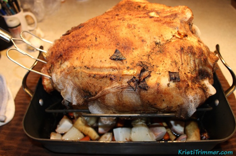 Cooked Turkey with Cheesecloth over it