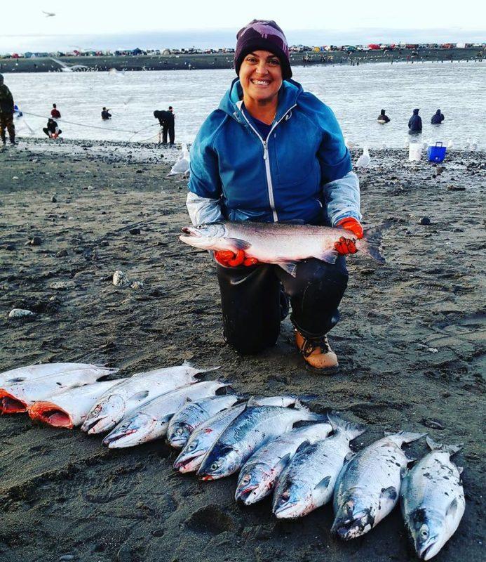 Combat fishing in Alaska #fishing #salmon #salmonfishing #alaskafishing #girlswhofish #dipnetting