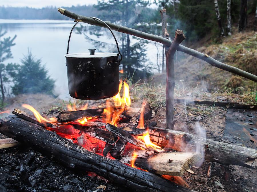 making smores camping