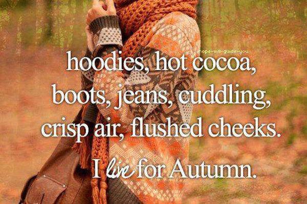 Hoodies, hot cocoa, boots, jeans, cuddling, crisp air, flushed cheeks. I live for autumn #favoritetimeofyear #fall #autumn #fallcolors #fallmemes #memes