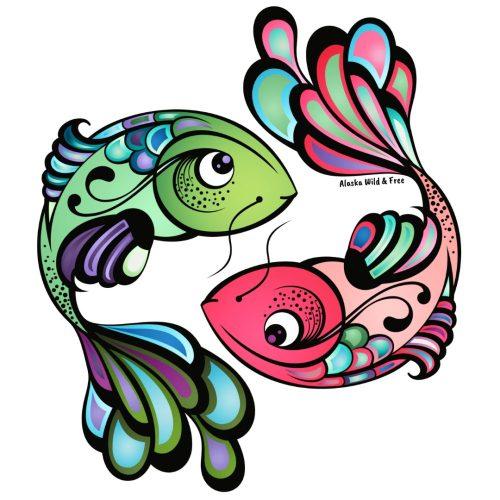 Pink & Green Salmon Stickers #salmon #salmonstickers #fishstickers