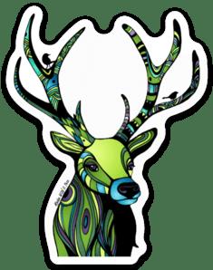Regal Green Deer Sticker #deers #deersticker #wildlifestickers #greenstickers