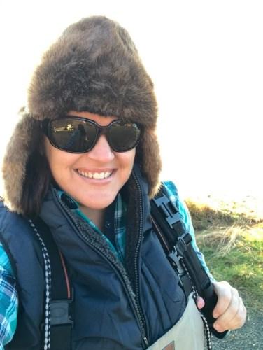Fishing on Naknek River in an Alaska native otter hat #alaska #girlswhofish