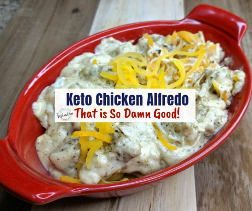 This Delicious Keto Chicken Alfredo will help you beat those comfort food cravings. #keto #ketorecipes #ketochickenalfredo