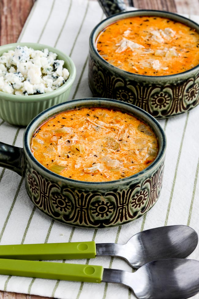 Instant Pot Low-Carb Buffalo Chicken Soup with Crumbled Blue Cheese (Video)