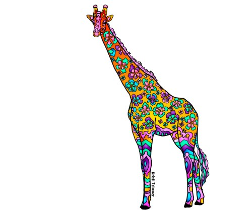 Orange Giraffe Sticker