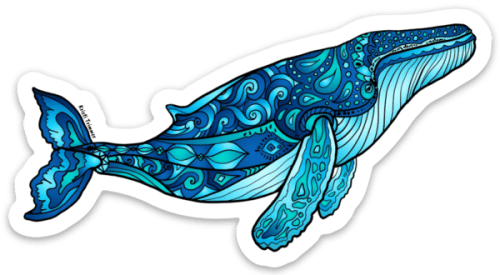 Blue Humpback Whale Sticker