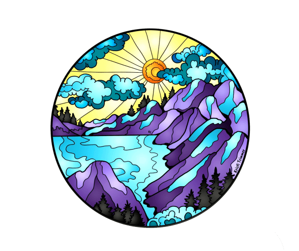 Rounded Mountains Circle Sticker