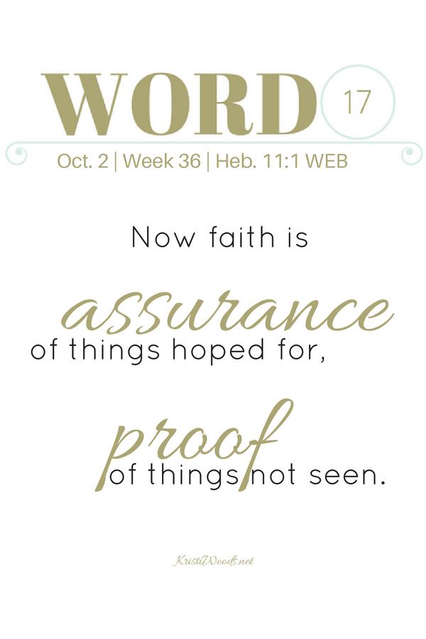 Hebrews 11:1 written in gold on white background