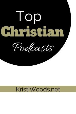White and gold lettering over a black circle announcing Top Christian Podcasts