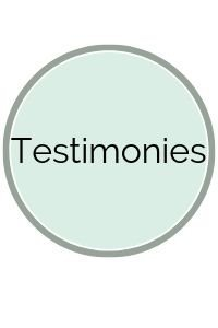 Light green circle with Testimonies on it