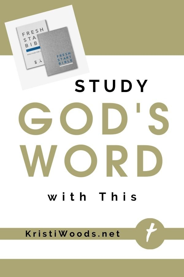 White and gold background post title about a new Christian Bible from Gateway Press: Fresh Start Bible